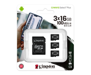 Kingston MicroSD 16B Canvas Select Plus Pack de 3 unidades