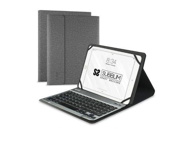 """Subblim Funda con Teclado Keytab Pro Bluetooth para Tablet 10.1"""" Gris"""