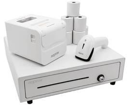 Approx APPPOSPACK4180WH Pack TPV Cajón Portamonedas + Impresora Térmica + Lector de Códigos + Rollos Térmicos